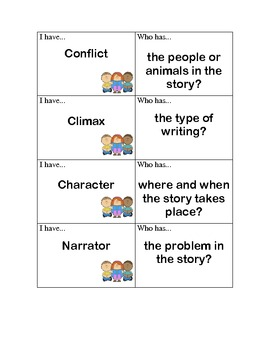 """""""I Have, Who Has?"""" Literary Elements Review Game"""