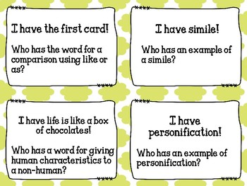 I Have, Who Has? Figurative Language - Set of 20 Cards - Grades 5-8