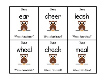 """I Have Who Has"" Long E Vowel Teams"