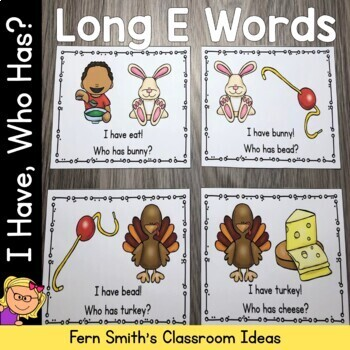 I Have Who Has Game Long E Words Cards