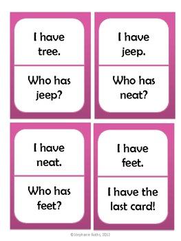 I Have, Who Has: Long E (ee, ea, and -e)