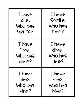 I Have, Who Has: Long Vowel i FREEBIE