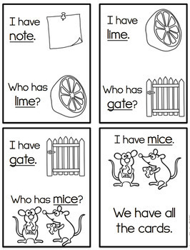 I Have, Who Has-Long Vowels CVCe