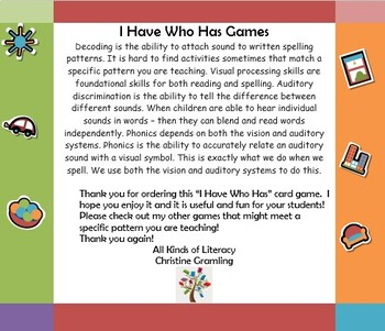 I Have Who Has Long o Vowel Pattern Card Game