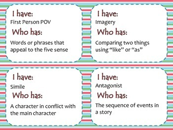 I Have - Who Has Loop Game: Literary Terms STRIPES