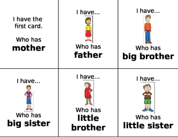 I Have Who Has Loop cards Family Members