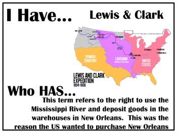 I Have..Who Has.. Louisiana Purchase