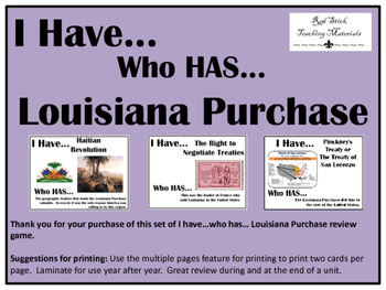 I Have..Who Has.. Louisiana Purchase