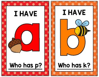 I Have... Who Has? Lowercase Alphabet Game