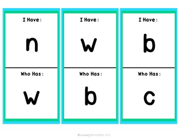 I Have, Who Has Lowercase Letter Game
