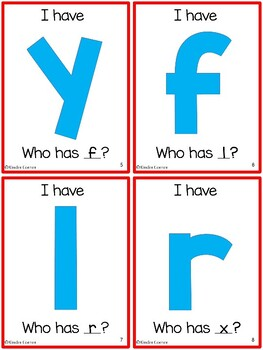 I Have, Who Has - Lowercase Letter Identification card game