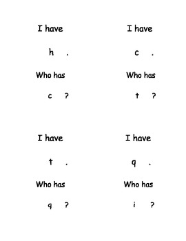 I Have, Who Has...? Lowercase Letters set