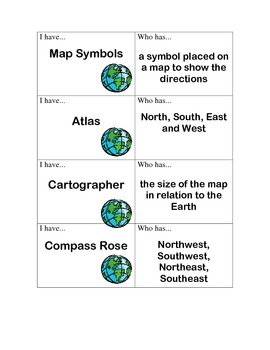 """""""I Have, Who Has?"""" Map Terms"""