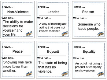 I Have.... Who Has? Martin Luther King Jr. Activity/Game