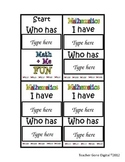 I Have Who Has Math Card Game Template (Editable PowerPoint)