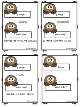 I Have Who Has Math Game ~ Place Value to a Million/Multiplication Easy Set-up