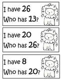 I Have Who Has Math Game Zoo Theme