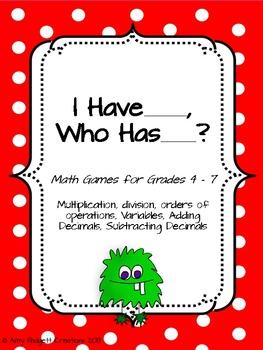 I Have, Who Has Math Games (Intermediate Grades)