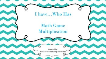 I Have ... Who Has Math Multiplication Game