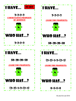 "Math Properties Game, ""I Have...Who Has...?"""