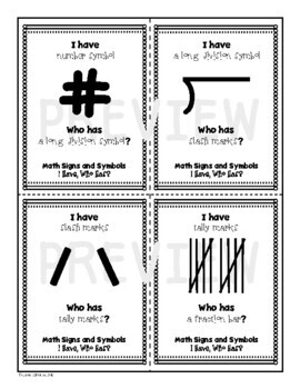 I Have, Who Has Math Signs and Symbols Card Set