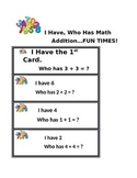 I Have Who Has Math Template
