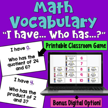 Math Vocabulary I Have Who Has Game (sum, difference, product, quotient)