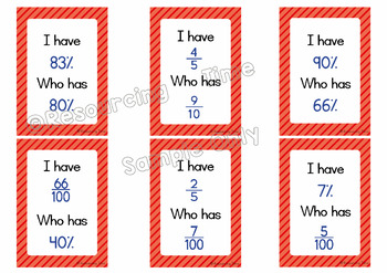 I Have Who Has Maths Game Bundle - Fractions, Decimals, Percentages