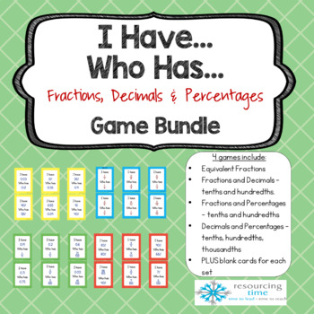 I Have Who Has Game Bundle - Fractions, Decimals and Percentages