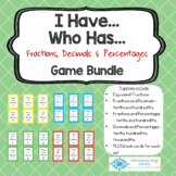 I Have Who Has - Fractions, Decimals and Percentages (4 Games)