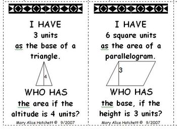 I Have Who Has - Middle School Geometry