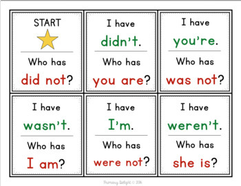 Contraction Review 1: I Have... Who Has...?
