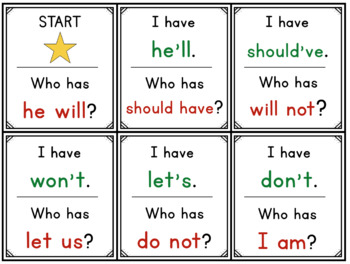 Contraction Review 2: I Have... Who Has...