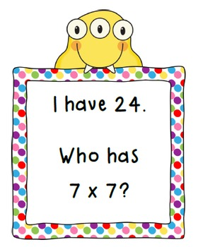 I Have, Who Has Mixed Multiplication (Facts 2-10)-CCSS Aligned