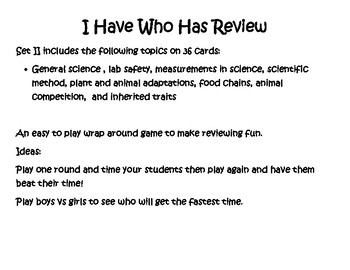 I Have Who Has Mixed Science Review Game part II