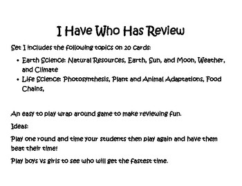 I Have Who Has Mixed Science Review game
