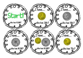 I Have Who Has? Money Amounts (Australian Currency)