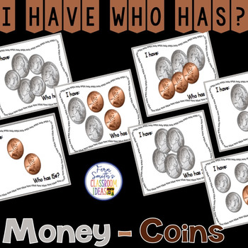 I Have Who Has Game Money - Coins Cards
