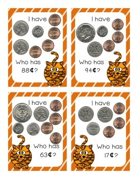 I Have Who Has Coins Money Game (Animal Themed)