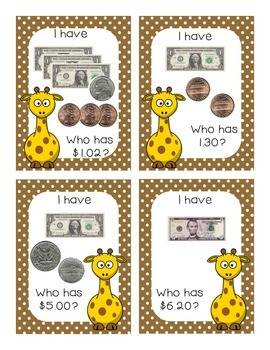 I Have Who Has Money Game Bundle (Animal Themed)
