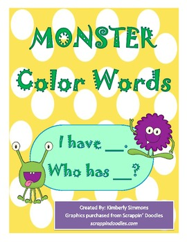 """""""I Have, Who Has"""" Monster Color Word Game"""