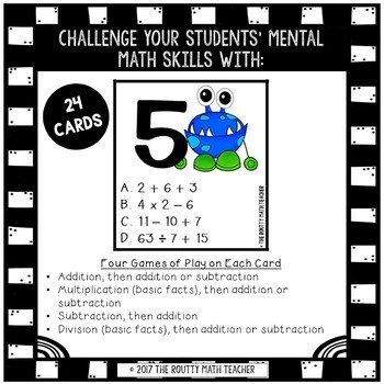 I Have, Who Has: Monster Operations- Mental Math Game