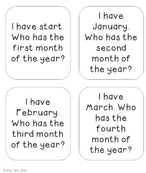 I Have Who Has - Months of the Year
