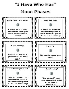 I Have Who Has Moon Phases