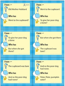 I Have, Who Has? Mother Goose Nursery Rhymes Bundle