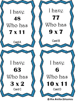 Multiplication Game: I Have Who Has Multiplication
