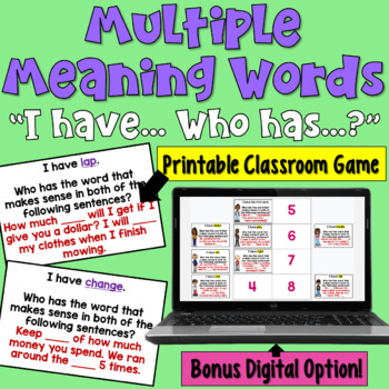 I Have... Who Has:  Multiple Meaning Words     Whole Class