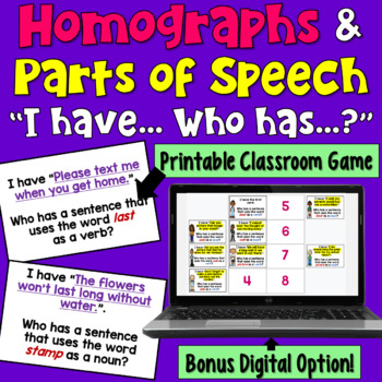Multiple Meaning Words with Parts of Speech: I Have Who Has Game