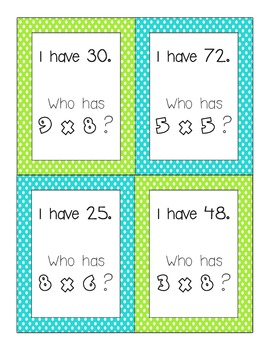 I Have, Who Has Multiplication (0-10)