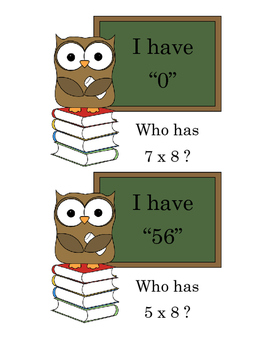 I Have Who Has Multiplication 1-10
